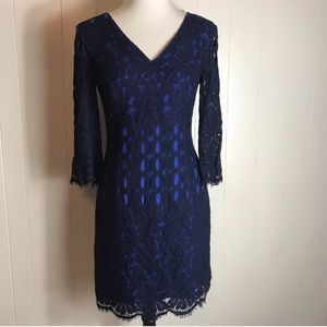 Lilly Pulitzer Lace Mini Dress Blue 3/4 Sleeves 4